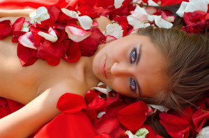 girl in rose petal