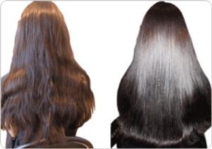 Волосы до и после маски с желатином